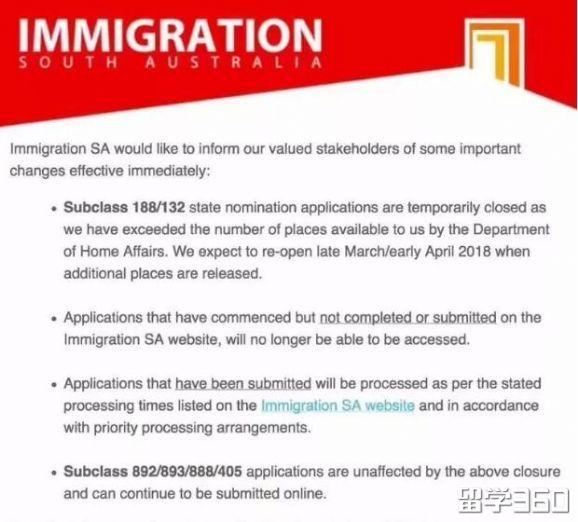 最新消息!南澳暂停132和188签证州提名申请!