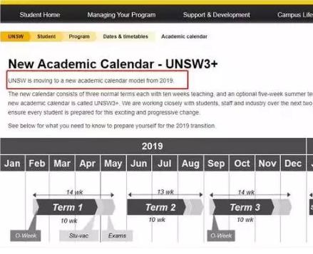 新南威尔士大学三学期制