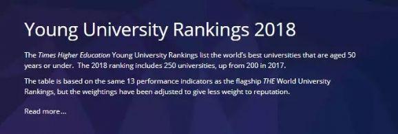 2018年THE世界年轻大学排名,香港科技大学勇得第一!