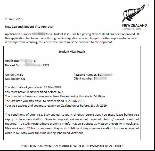 先留学后移民,恭喜北京L同学拿到新西兰学生签证!