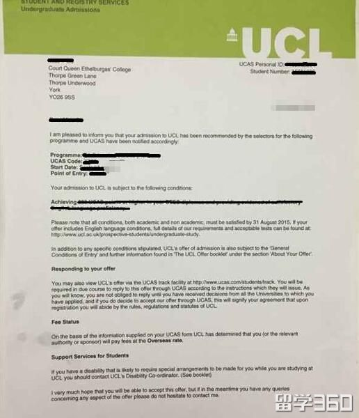 成绩优异,李同学成功摘取UCL教育学专业offer
