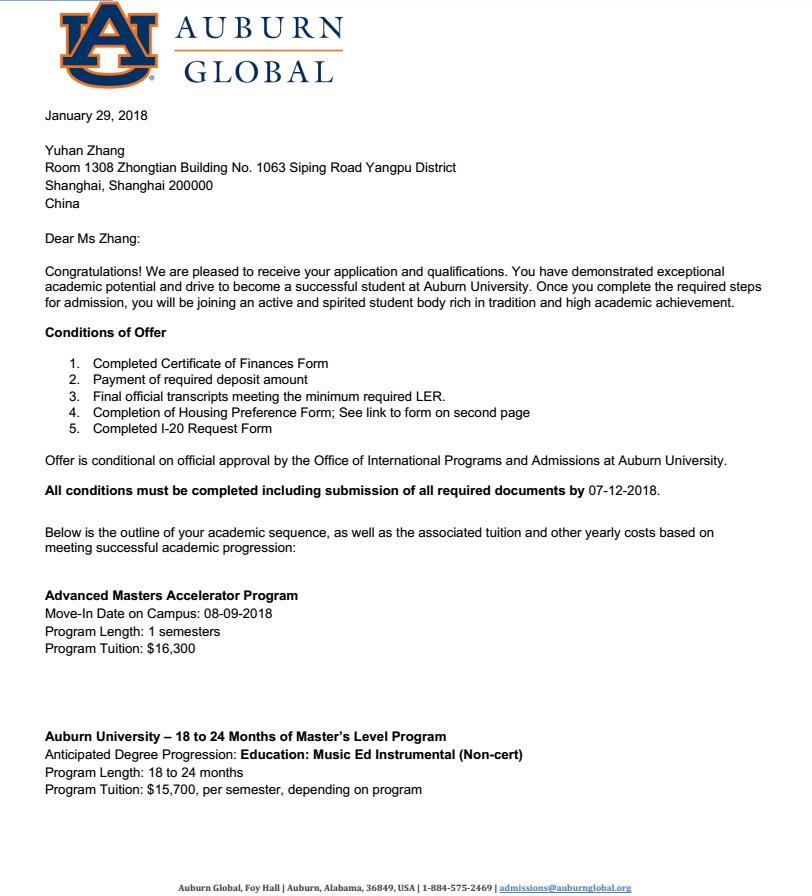 低GPA的逆袭!恭喜Z同学收获奥本大学音乐教育硕士offer