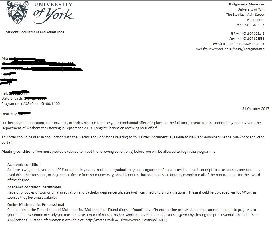 本科双非院校优秀生,获约克大学金融工程专业录取