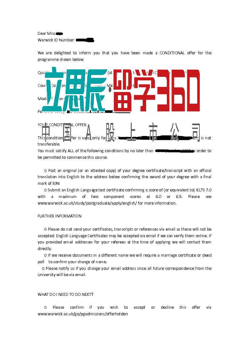 合理规划+个人的努力,L同学喜获华威大学传媒录取
