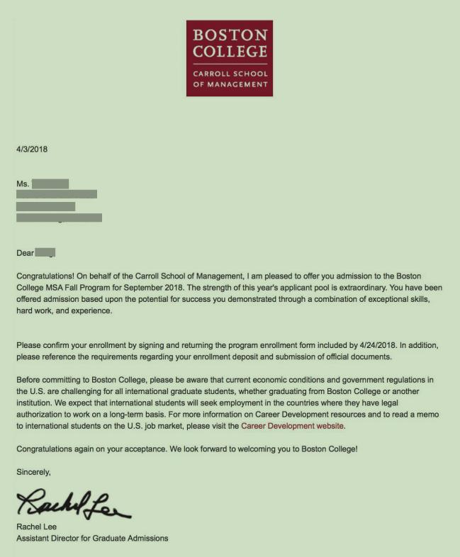 极其配合!自我蜕变,拿下波士顿学院会计专业offer!