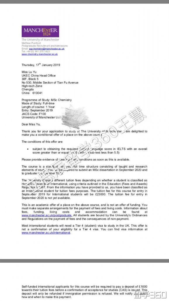 曼彻斯特大学留学案例:多一点心细和申请的配合度