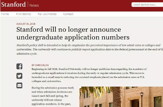 USNews美国大学新生入学率排名!斯坦福第一!