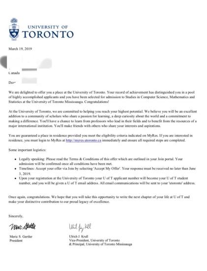 成绩优秀目标明确通过我们成功申请多伦多大学计算机专业
