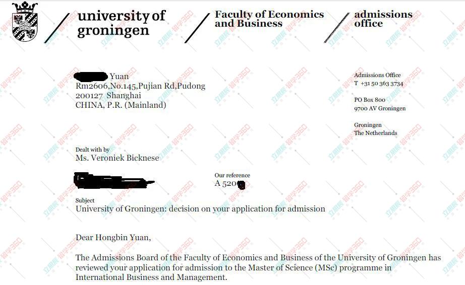 元同学努力和刻苦成绩前茅顺利申请荷兰格罗宁根大学国际商务管理