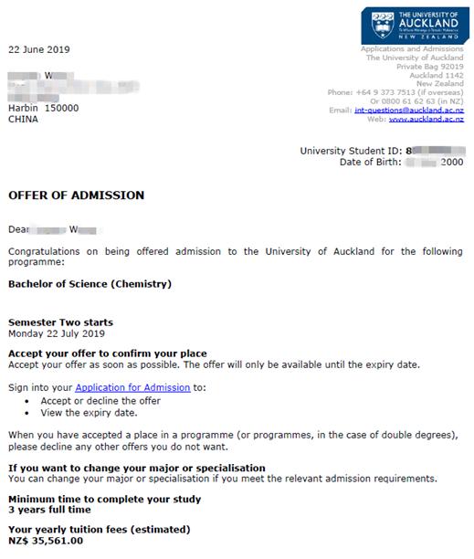 新西兰就读高中W同学,喜获奥克兰大学本科无条件offer