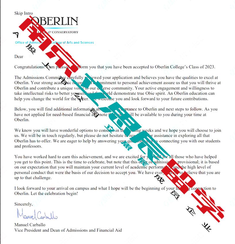 怒刷托福,合理规划背景提升,成功拿下欧柏林学院offer!