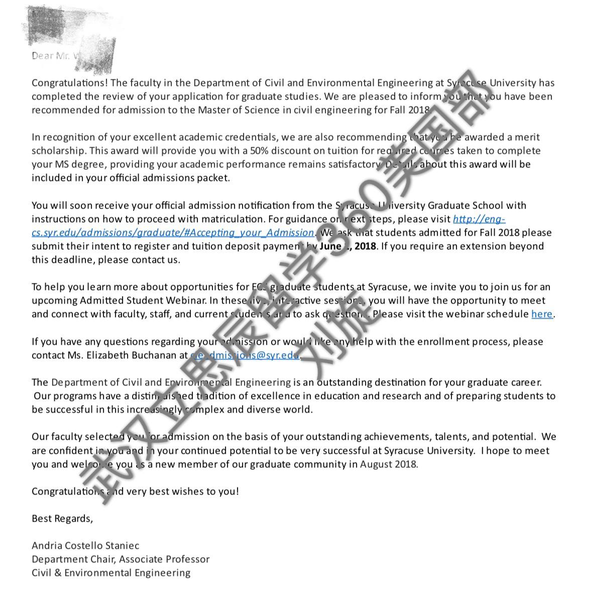 低GPA,低托福,5个月拿下雪城大学offer!
