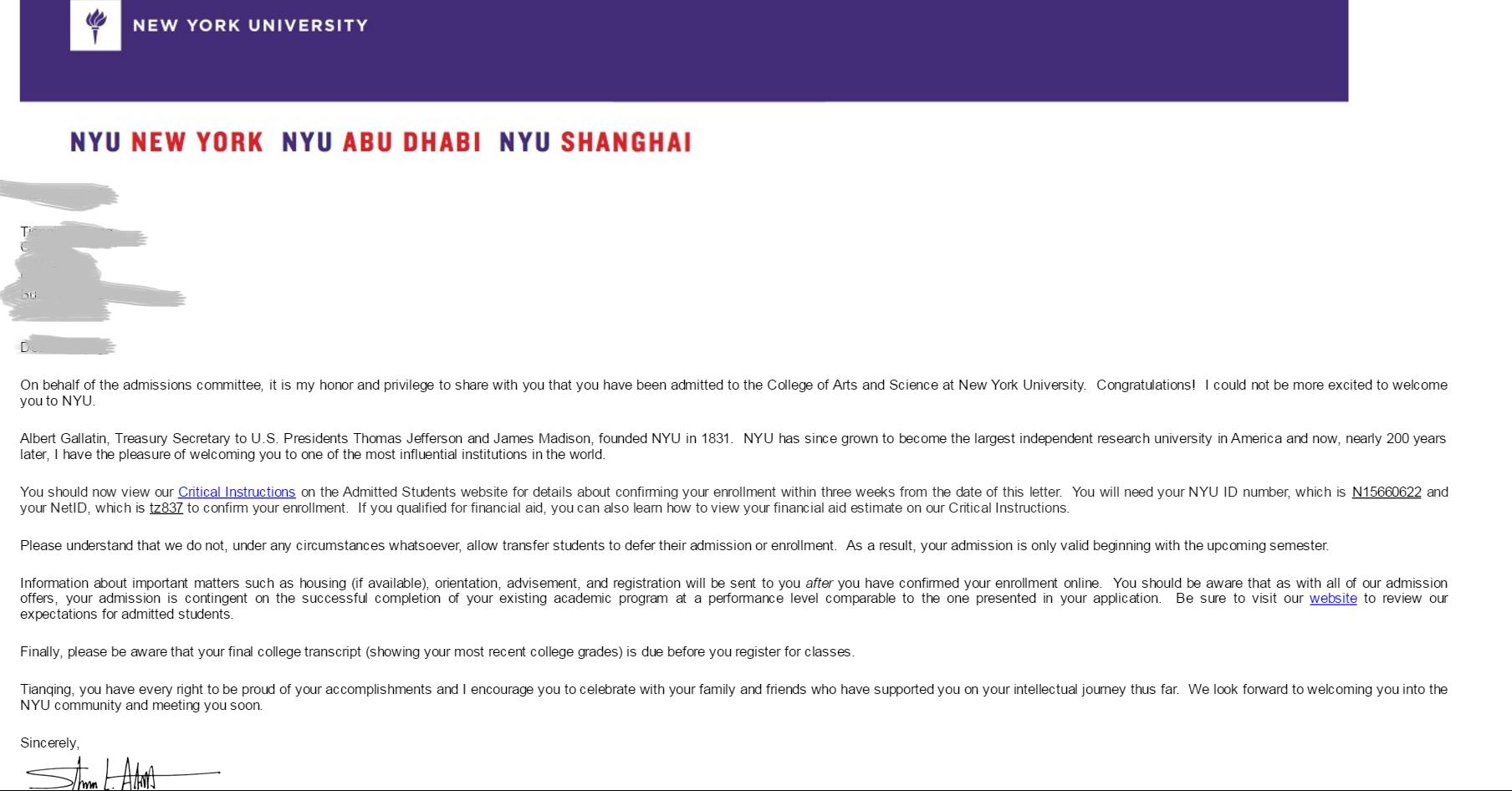 GPA不足3.0,共同努力,照样拿下纽约大学录取!