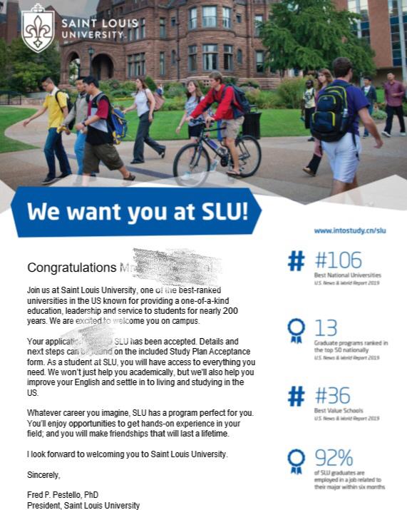 提前规划,高考出国两不误,成功拿下申请圣路易斯大学录取!