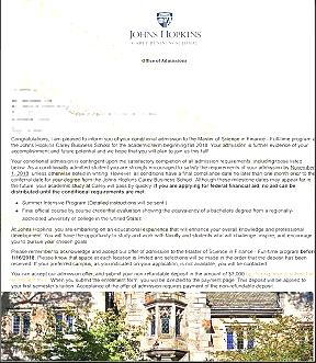 双非大学跨专业申请商科获约翰霍普金斯大学录取!