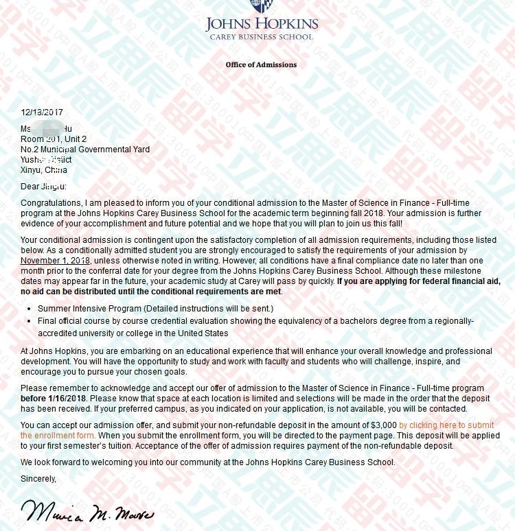 文书彰显能力,约翰霍普金斯大学offer如约而至!