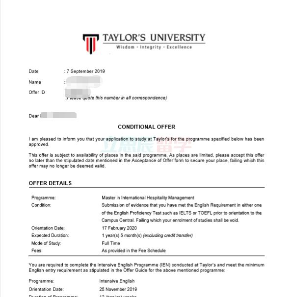 本科毕业10年再深造,B同学顺利拿下泰莱大学硕士offer!