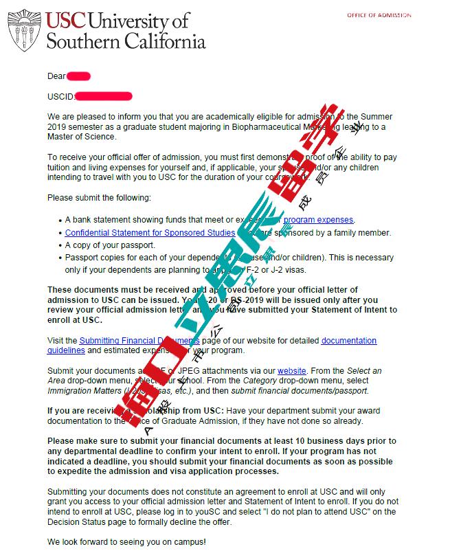 高度配合,文书锦上添花助力拿下南加州大学offer!