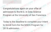 GRE320+,托福100+,成功申请到旧金山大学,并取得奖学金