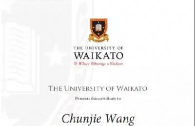 立思辰留学360王春节老师喜获新西兰怀卡托大学出访学习证书