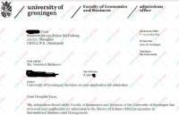 努力和刻苦成绩前茅 顺利申请荷兰格罗宁根大学国际商务管理
