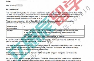 顾问耐心指导,助力王同学恢复英语自信,顺利拿下JCU新加坡校区offer
