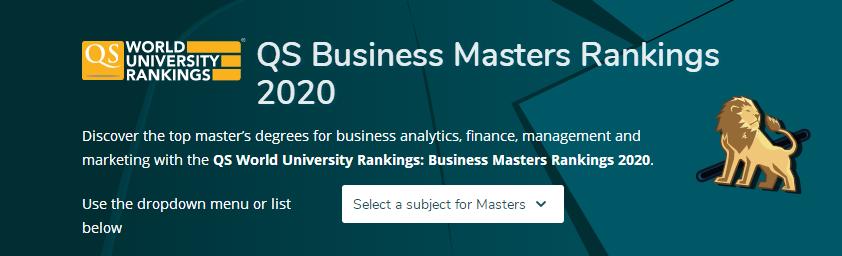 2020年QS商科硕士排名公布!(商业分析,金融,市场营销,管理)