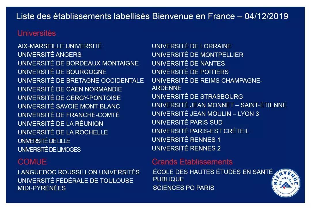 """57所法国高校获得""""欢迎来法国""""认证"""