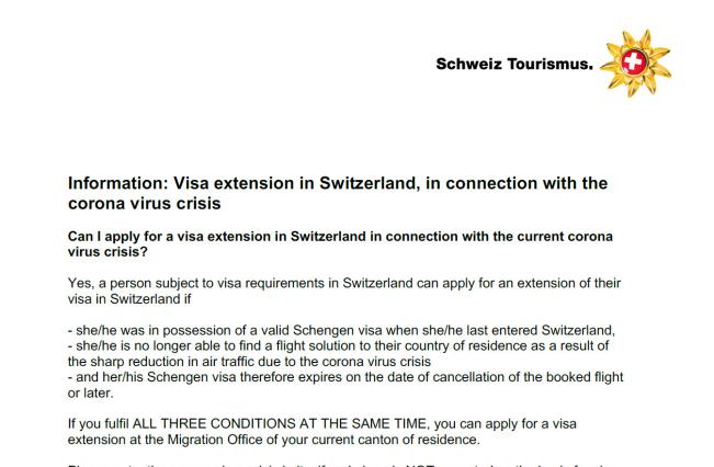 瑞士针对新型冠状病毒疫情推出延长游客签证新举措