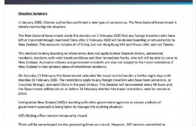 """新西兰政府颁布""""入境限制令""""延长8天至2月24日"""