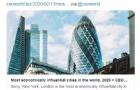 傲娇!多伦多跻身全球十大最有经济影响力城市!