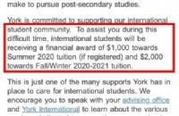 又发钱了!约克大学为留学生发学费补助!每人可以领$3000刀!