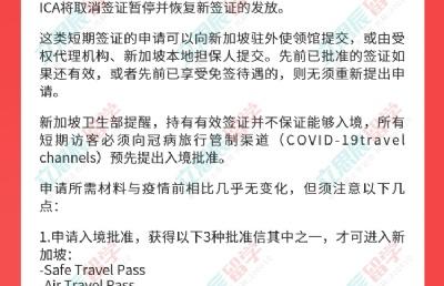 19日起,新加坡恢复中国公民短期旅行签证申请及入境