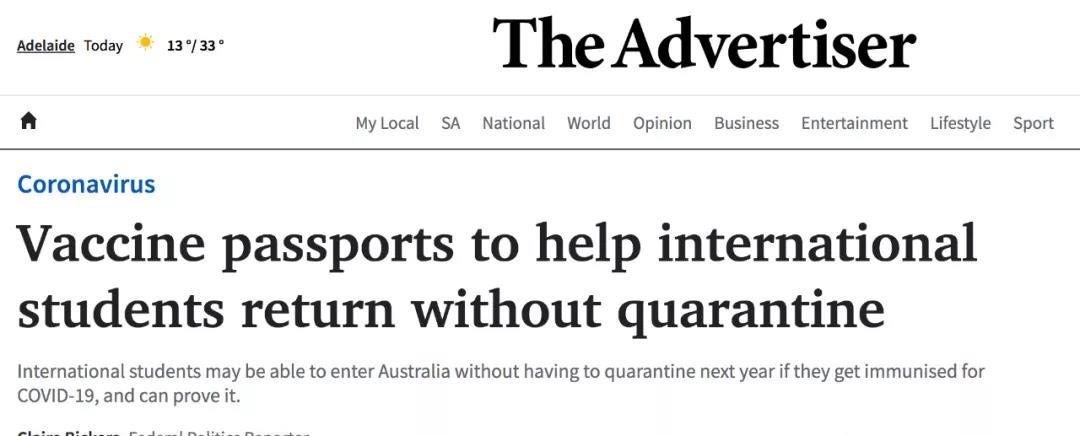 最新!澳移民部长:接种疫苗后,留学生可大批返澳无需隔离!