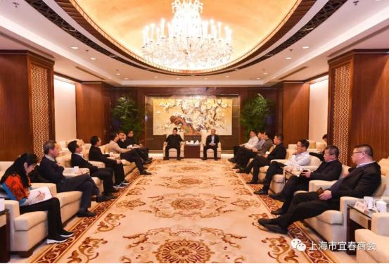 宜春市委书记于秀明一行接见上海市宜春商会会长罗成
