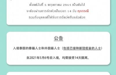自2021年5月6日后入境泰国,均需隔离14天!