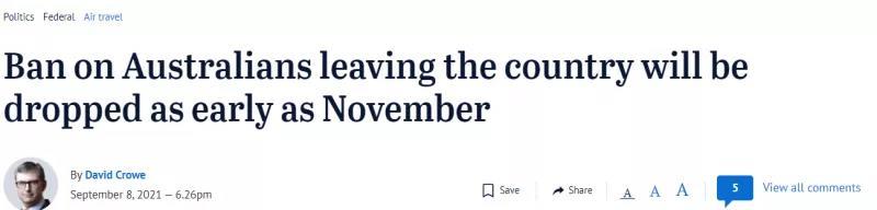 好消息!澳洲国际旅行禁令最快11月解除!