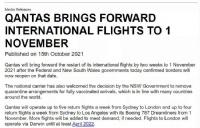 澳航恢复国际航班时间提前!新加坡、斐济将于下个月对澳洲开放!