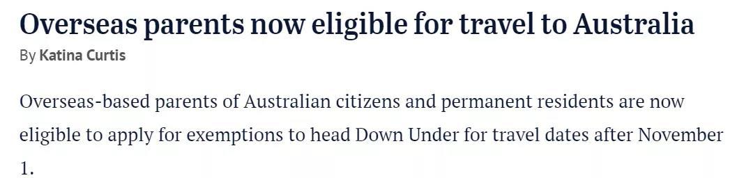 澳洲PR/公民的父母现可申请豁免,11月1日起正式开放入境!